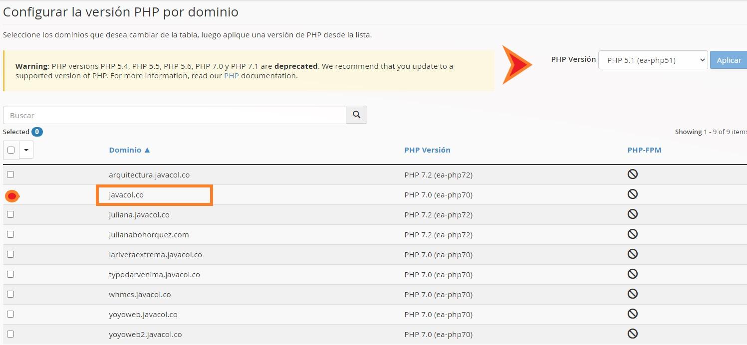 ingreso a Cpanel - cambio de version php