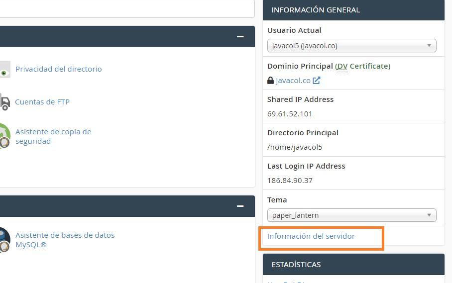 informacion del servidor - cambiar version de php